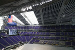 A portion of the rook is darkened with curtains as U.S. Bank Stadium in Minneapolis prepares for the NCAA college basketball Final Four, Tuesday, March 5, 2019. (Renee Jones Schneider/Star Tribune via AP)