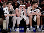 Butler guard Paul Jorgensen, center, holds a towel to his face during the second half of the team's NCAA college basketball game against Providence in the Big East men's tournament Wednesday, March 13, 2019, in New York. Providence won 80-57. (AP Photo/Julio Cortez)