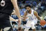 North Carolina's Jeremiah Francis (13) drives in against Wofford during the first half of an NCAA college basketball game in Carmichael Arena in Chapel Hill, N.C., Sunday, Dec. 15, 2019. (AP Photo/Chris Seward)