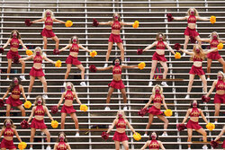 Iowa State cheerleaders perform in the stands before an NCAA college football game against Louisiana-Lafayette, Saturday, Sept. 12, 2020, in Ames, Iowa. (AP Photo/Charlie Neibergall)