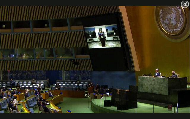 In this image made from UNTV video, United States President Donald Trump speaks in a pre-recorded message which was played during the 75th session of the United Nations General Assembly, Tuesday, Sept. 22, 2020, at U.N. headquarters in New York. The U.N.'s first virtual meeting of world leaders started Tuesday with pre-recorded speeches from some of the planet's biggest powers, kept at home by the coronavirus pandemic that will likely be a dominant theme at their video gathering this year. (UNTV via AP)