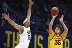 Arizona State's Taeshon Cherry, right, shoots against California's Justice Sueing (10) during the first half of an NCAA college basketball game Wednesday, Jan. 9, 2019, in Berkeley, Calif. (AP Photo/Ben Margot)