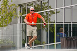 Cleveland Browns owner Jimmy Haslam watches during an NFL football practice, Saturday, July 31, 2021, in Berea, Ohio. (AP Photo/Tony Dejak)