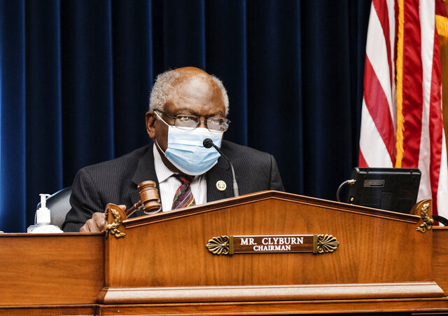 Committee Chairman James Clyburn, D-S.C., talks as Secretary of Health and Human Services Alex Azar testifies to the House Select Subcommittee on the Coronavirus Crisis, on Capitol Hill in Washington, Friday, Oct. 2, 2020. (Michael A. McCoy/The New York Times via AP, Pool)