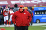 Kansas City Chiefs head coach Andy Reid walks on the field before the AFC championship NFL football game against the Buffalo Bills, Sunday, Jan. 24, 2021, in Kansas City, Mo. (AP Photo/Reed Hoffmann)