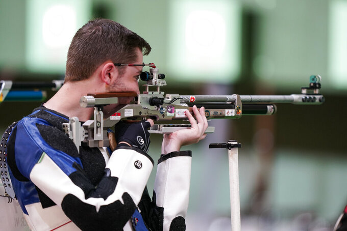 William Shaner, of the United States, competes in the men's 10-meter air rifle at the Asaka Shooting Range in the 2020 Summer Olympics, Sunday, July 25, 2021, in Tokyo, Japan. (AP Photo/Alex Brandon)