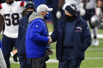 New England Patriots' Bill Belichick, right, shakes hands with Buffalo Bills' Sean McDermott after an NFL football game Sunday, Nov. 1, 2020, in Orchard Park, N.Y. The Bills won 24-21. (AP Photo/Adrian Kraus)