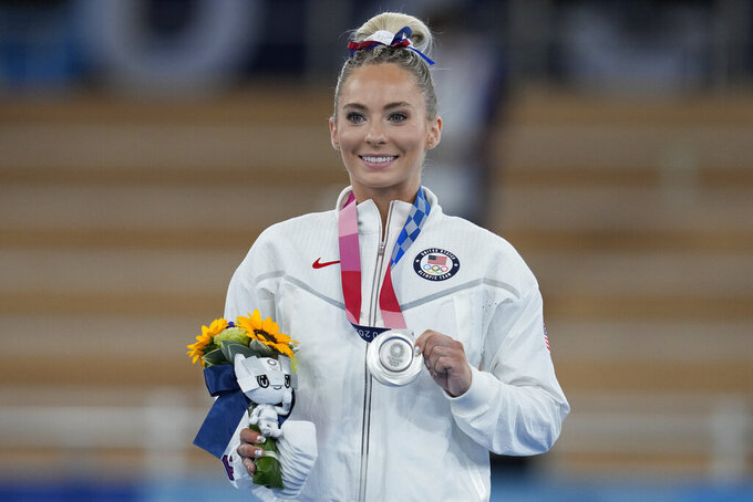 Mykayla Skinner of the United States, poses after winning the silver medal for the vault during the artistic gymnastics women's apparatus final at the 2020 Summer Olympics, Sunday, Aug. 1, 2021, in Tokyo, Japan. (AP Photo/Natacha Pisarenko)