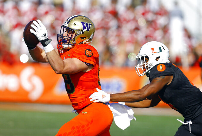 North tight end Drew Sample,left, of Washington, catches a pass as South safety Jaquan Johnson, of Miami, defends during the first half of the Senior Bowl college football game, Saturday, Jan. 26, 2019, in Mobile, Ala. (AP Photo/Butch Dill)