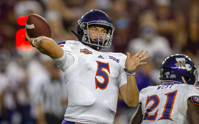 Northwestern State quarterback Shelton Eppler throws a pass during the first half of an NCAA college football game against Texas A&M on Thursday, Aug. 30, 2018, in College Station, Texas. (AP Photo/Sam Craft)