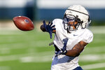 Penn State wide receiver KJ Hamler hauls in a pass during the NCAA college football team's practice Wednesday, Aug. 28, 2019, in State College, Pa. (Joe Hermitt/The Patriot-News via AP)