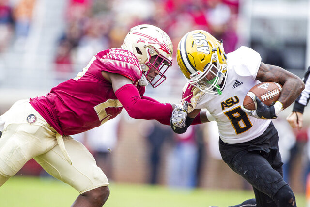 Florida State defensive back Hamsah Nasirildeen tackles Alabama State wide receiver Tyrek Allen in the second half of an NCAA college football game in Tallahassee, Fla., Saturday, Nov. 16, 2019. Florida State defeated Alabama State 49-12. (AP Photo/Mark Wallheiser)