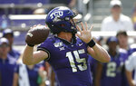 TCU quarterback Max Duggan (15) throws against SMU during the first half of an NCAA college football game Saturday, Sept. 21, 2019, in Fort Worth, Texas. (AP Photo/Ron Jenkins)
