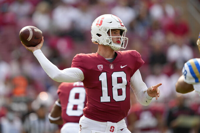 Stanford quarterback Tanner McKee (18) throws a pass against the UCLA during the first half of an NCAA college football game Saturday, Sept. 25, 2021, in San Francisco, Calif. (AP Photo/Tony Avelar)