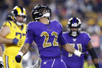 Baltimore Ravens cornerback Jimmy Smith celebrates after sacking Los Angeles Rams quarterback Jared Goff during the first half of an NFL football game Monday, Nov. 25, 2019, in Los Angeles. (AP Photo/Marcio Jose Sanchez)