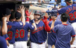 Minnesota Twins' Ryan Jeffers is greeted in the dugout after hitting a grand slam in the fourth inning of a baseball game against Detroit Tigers, Wednesday, July 28, 2021, in Minneapolis. (Glen Stubbe/Star Tribune via AP)