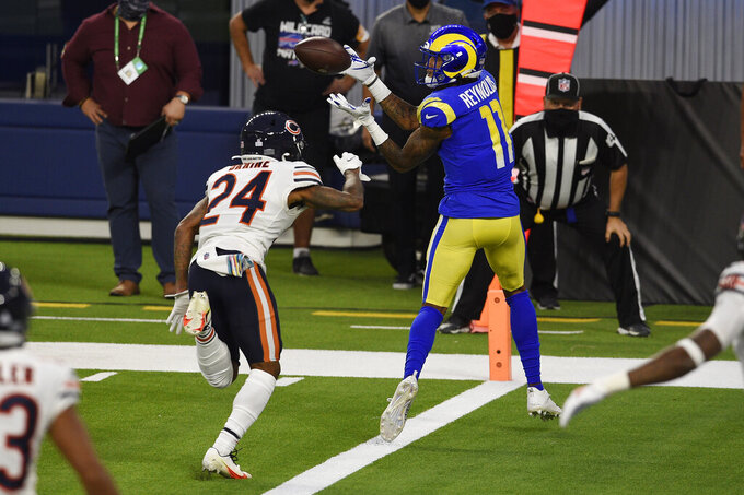 Los Angeles Rams wide receiver Josh Reynolds (11) makes a touchdown catch in front of cornerback Buster Skrine (24) during the first half of an NFL football game Monday, Oct. 26, 2020, in Inglewood, Calif. (AP Photo/Kelvin Kuo)