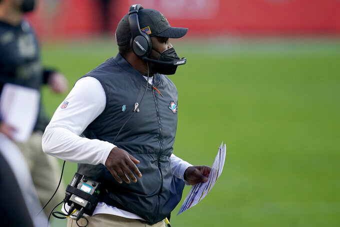 Miami Dolphins head coach Brian Flores during the second half of an NFL football game against the Denver Broncos, Sunday, Nov. 22, 2020, in Denver. (AP Photo/David Zalubowski)