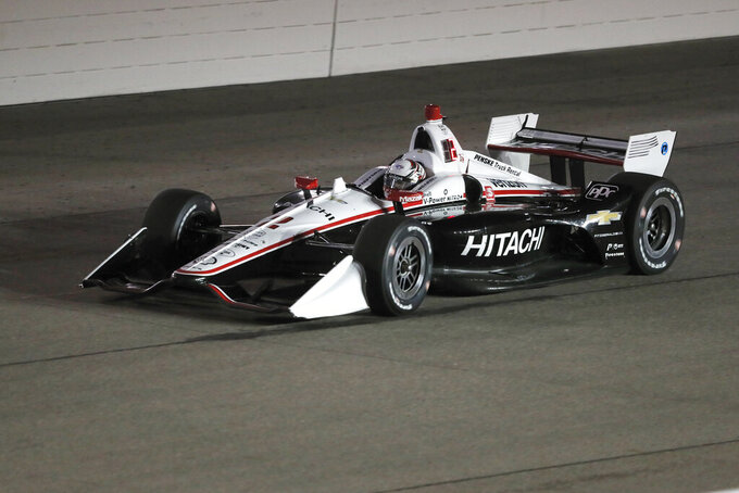 Josef Newgarden races his car during the IndyCar Series auto race Saturday, July 20, 2019, at Iowa Speedway in Newton, Iowa. (AP Photo/Charlie Neibergall)
