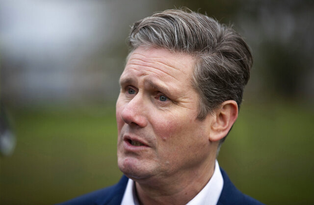Labour Party lawmaker Keir Starmer speaks to the media following the launch of his campaign to succeed Jeremy Corbyn as party leader, in Stevenage, England, Sunday Jan. 5, 2020.  Starmer criticised the party's recent general election campaign.(Aaron Chown/PA via AP)