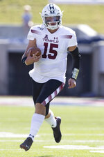 Temple quarterback Anthony Russo (15) runs with the ball during the first quarter of an NCAA college football game against SMU in Dallas, Saturday, Oct. 19, 2019. (AP Photo/Sam Hodde)