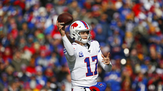 Buffalo Bills quarterback Josh Allen (17) throws during the first half of an NFL football game against the Washington Redskins, Sunday, Nov. 3, 2019, in Orchard Park, N.Y. (AP Photo/John Munson)