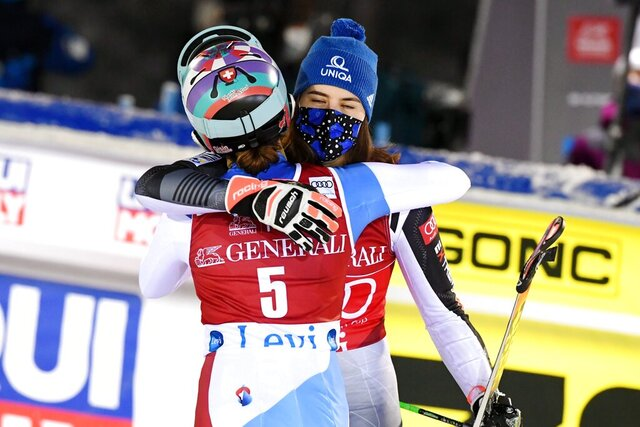 Second placed Michelle Gisin of Switzerland, left, congratulates winner Petra Vlhova of Slovakia at the end of of the FIS Alpine Ski World Cup women's slalom race at the Levi ski resort in Kittila, Finnish Lapland, Sunday, Nov. 22, 2020. (Jussi Nukari/Lehtikuva via AP)