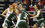 Colorado State's Kendle Moore (3) and Boise State's Alex Hobbs (34) struggle for a loose ball during the second half of an NCAA college basketball game in the Mountain West Conference tournament Wednesday, March 13, 2019, in Las Vegas. (AP Photo/Isaac Brekken)