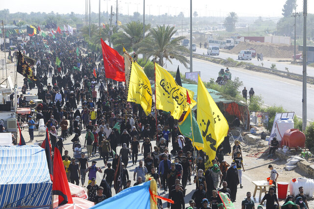 Shiite pilgrims arrive Karbala, Iraq, for the Arbaeen ritual Tuesday, Oct. 6, 2020. Arbaeen holiday marks the end of the forty day mourning period after the anniversary of the martyrdom of Imam Hussein, the Prophet Muhammad's grandson in the 7th century. (AP Photo/Anmar Khalil)(AP Photo/Anmar Khalil)