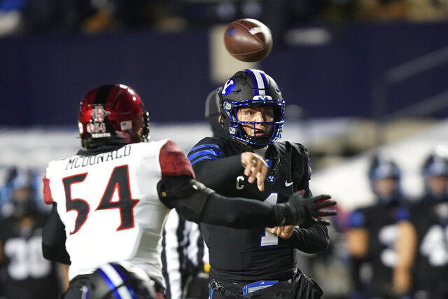 BYU quarterback Zach Wilson throws a pass as San Diego State linebacker Caden McDonald (54) defends during the first half of an NCAA college football game Saturday, Dec. 12, 2020, in Provo, Utah. (AP Photo/George Frey, Pool)