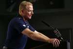 Dallas Cowboys head coach Jason Garrett speaks during a news conference following an NFL football game against the Los Angeles Rams in Arlington, Texas, Sunday, Dec. 15, 2019. (AP Photo/Ron Jenkins)