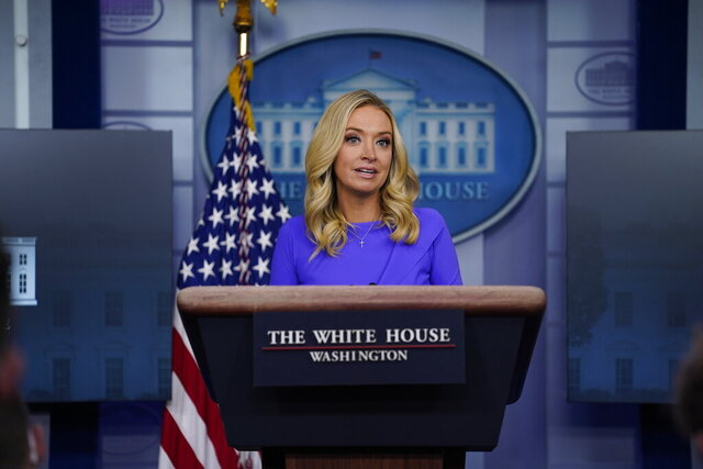 White House press secretary Kayleigh McEnany speaks during a press briefing at the White House, Tuesday, Dec. 15, 2020, in Washington. (AP Photo/Evan Vucci)
