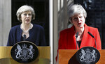Combo of images that shows at left, Theresa May on the day she became British Prime Minister speaking to the media outside 10 Downing Street in London on Wednesday July 13, 2016 and at right, May speaking outside number 10 on Friday, May 24, 2019 on the day she announced that she would quit. Theresa May says she'll quit as UK Conservative leader on June 7, sparking contest for Britain's next prime minister. (AP Photo, File)