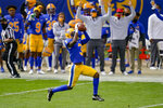 Pittsburgh Panthers wide receiver Jordan Addison (3) makes a catch of a Kenny Pickett pass before turning and running it for a touchdown during the first half of an NCAA college football game against North Carolina State, Saturday, Oct. 3, 2020, in Pittsburgh. (AP Photo/Keith Srakocic)