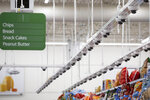Dozens of cameras hang above an aisle at a Walmart Neighborhood Market, Wednesday, April 24, 2019, in Levittown, N.Y. This living lab, dubbed Walmart's Intelligent Retail Lab, is Walmart's biggest attempt to digitize the physical store. (AP Photo/Mark Lennihan)
