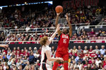 U.S. forward Nneka Ogwumike (16) shoots as Stanford forward Ashten Prechtel defends in the second quarter of an exhibition women's basketball game, Saturday, Nov. 2, 2019, in Stanford, Calif. (AP Photo/John Hefti)