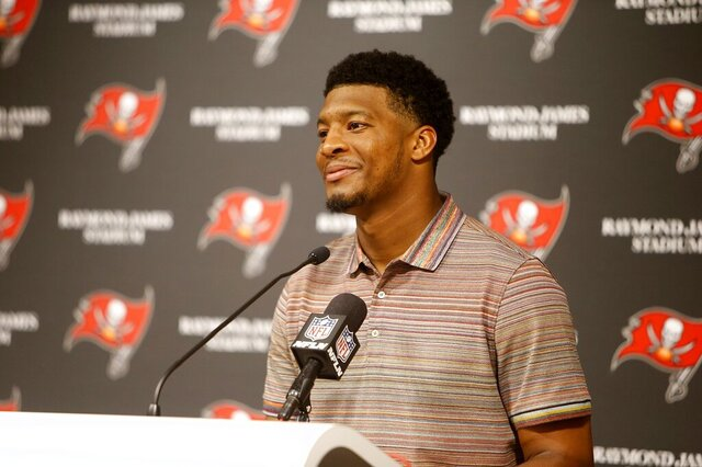 Tampa Bay Buccaneers quarterback Jameis Winston (3) takes questions during a press conference at Raymond James Stadium in Tampa, Florida on Sunday, December 29, 2019. The Atlanta Falcons defeated the Tampa Bay Buccaneers 28-22 in overtime.(Octavio Jones/Tampa Bay Times via AP)