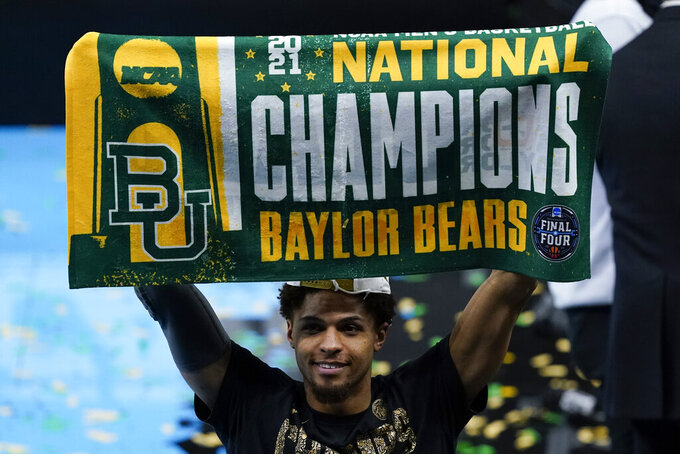 Baylor guard MaCio Teague celebrates after the championship game against Gonzaga in the men's Final Four NCAA college basketball tournament, Monday, April 5, 2021, at Lucas Oil Stadium in Indianapolis. Baylor won 86-70. (AP Photo/Darron Cummings)