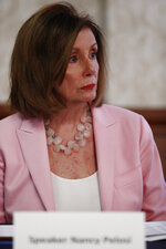 Speaker of the House Rep. Nancy Pelosi, D-Calif., speaks with local officials about Venezuelan democracy efforts on Thursday, Oct. 3, 2019, in Weston, Fla. (AP Photo/Brynn Anderson)