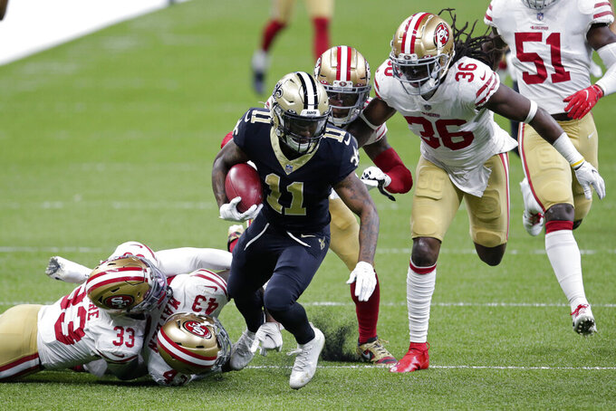New Orleans Saints Deonte Harris (11) carries on a 75 yard kickoff return in the first half of an NFL football game in New Orleans, Sunday, Nov. 15, 2020.in the first half of an NFL football game in New Orleans, Sunday, Nov. 15, 2020. (AP Photo/Butch Dill)