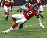 Atlanta Falcons quarterback Matt Ryan is tackled by New York Jets linebacker Avery Williamson on a quarterback keeper during the first half of an NFL football preseason game Thursday, Aug. 15, 2019, in Atlanta. (Curtis Compton/Atlanta Journal Constitution via AP)