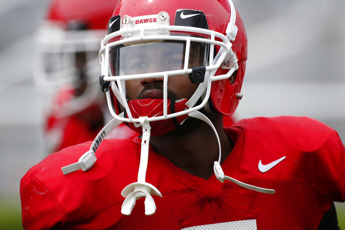 Georgia running back D'Andre Swift (7) during warm ups for an NCAA football scrimmage in Athens, Ga., Saturday, April 13, 2019. (Joshua L. Jones/Athens Banner-Herald via AP)