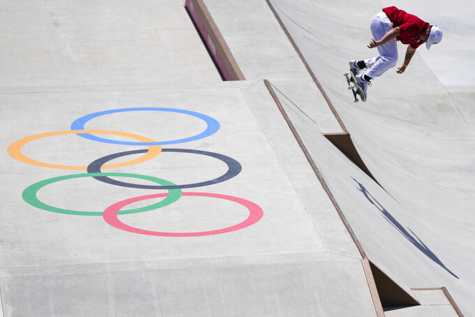 Alana Smith of the United States trains during a street skateboarding practice session at the 2020 Summer Olympics, Friday, July 23, 2021, in Tokyo, Japan. (AP Photo/Markus Schreiber)