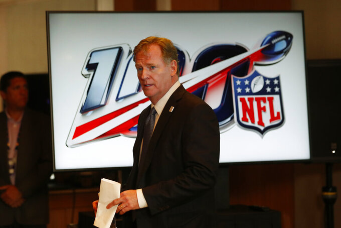 NFL Commissioner Roger Goodell arrives at a news conference after the NFL Fall league meeting, Wednesday, Oct. 16, 2019 in Fort Lauderdale, Fla. (AP Photo/Wilfredo Lee)
