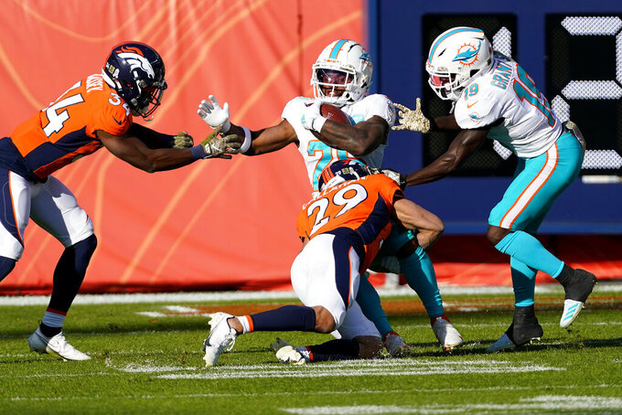 Miami Dolphins running back Salvon Ahmed (26) is tackled by Denver Broncos cornerback Bryce Callahan (29) during the first half of an NFL football game, Sunday, Nov. 22, 2020, in Denver. (AP Photo/Jack Dempsey)