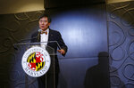 "University of Maryland President Wallace Loh speaks at a news conference held Tuesday, Aug. 14, 2018, to address the school's football program and the death of offensive lineman Jordan McNair, who collapsed on a practice field and subsequently died, in College Park, Md. Athletic director Damon Evans said Tuesday that  ""mistakes were made"" in the treatment of McNair after he fell ill during a conditioning drill.   (AP Photo/Patrick Semansky)"