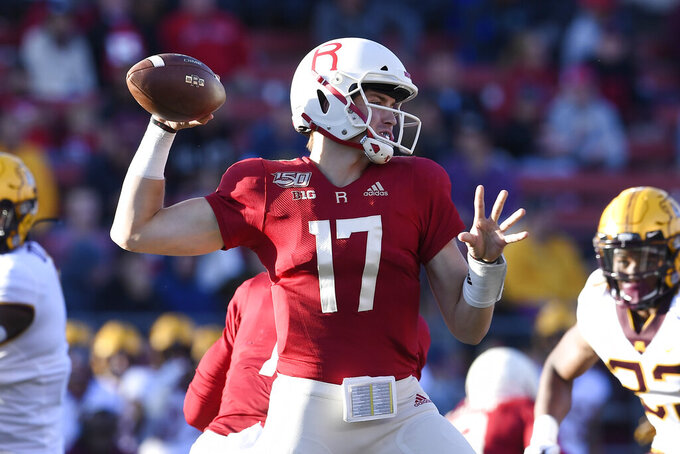 Rutgers quarterback Johnny Langan (17) passes the ball during the first half of an NCAA college football game against Minnesota Saturday, Oct. 19, 2019, in Piscataway, N.J. (AP Photo/Sarah Stier)