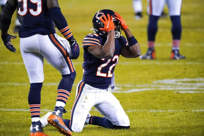 Chicago Bears' Kindle Vildor reacts after missing an interception during the second half of an NFL football game against the Green Bay Packers Sunday, Jan. 3, 2021, in Chicago. (AP Photo/Nam Y. Huh)