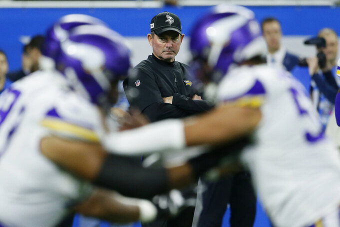 Minnesota Vikings head coach Mike Zimmer watches during pregame of an NFL football game against the Detroit Lions, Sunday, Oct. 20, 2019, in Detroit. (AP Photo/Duane Burleson)
