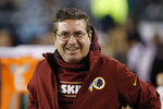 FILE - In this Dec. 26, 2015, file photo, Washington Redskins owner Daniel Snyder walks the sidelines during an NFL football game against the Philadelphia Eagles, in Philadelphia. A new name must still be selected for the Washington Redskins football team, one of the oldest and most storied teams in the National Football League, and it was unclear how soon that will happen. But for now, arguably the most polarizing name in North American professional sports is gone at a time of reckoning over racial injustice, iconography and racism in the U.S.  (AP Photo/Matt Rourke, File)